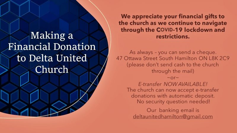 Financial donations to the church are always welcome!