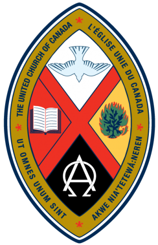 The United Church crest has a red X in the middle with four symbols: a white dove in the top segment, the Greek letters Alpha and Omega in the bottom, an open Bible in the left-hand segment, and a burning bush in the right.